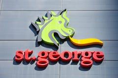 St George banka symbol na budynku biurowym Perth Zdjęcia Royalty Free