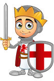St. George Boy King Character. A illustration of a cartoon St. George Boy King character Stock Photo
