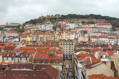 St. George castle from the Santa Justa elevator, Lisbon, Portugal Royalty Free Stock Image