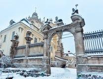 St. George Cathedral Winter des frühen Morgens in Lemberg, Ukraine Lizenzfreie Stockbilder