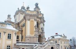 St. George Cathedral Winter des frühen Morgens in Lemberg, Ukraine Stockbild