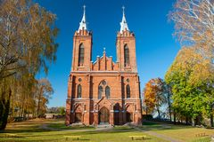 St. George Catholic Church in Zasliai stock photos