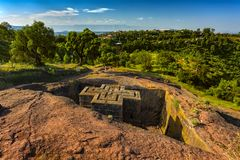 St George Church, Lalibela. Ethiopia, Lalibela. Monolithic church of Saint George Bet Giyorgis in Amharic in the shape of a cross. The churches of Lalibela is on stock photos