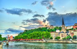 St. George Church at sunset in Lyon, France stock photography