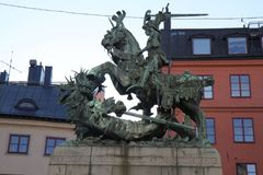 St. George and the Dragon on Stockholm Stock Photo