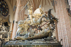 St. George and the Dragon, Storkyrkan Cathedral, S royalty free stock photography