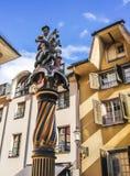 St George et dragon, statue polychrome de fontaine de St George 1548, Solothurn, Solothurn, Suisse, l'Europe photo libre de droits