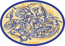 St George Fighting Dragon Drawing Royalty Free Stock Image