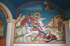 St. George fresco on the wall of the monastery, Cyprus Stock Photo