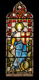 St George in Gebrandschilderd glas Stock Foto's