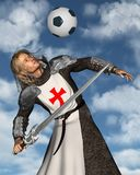 St George heading a football, blue sky background. 3d Digitally rendered illustration of St. George, the Patron Saint of England heading a football (soccer ball Royalty Free Stock Photo