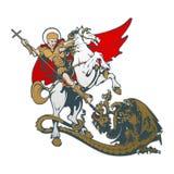 St. George on horseback. Vector illustration. St. George killing the dragon. Vector illustration Stock Images