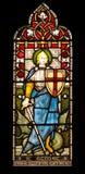 St George im Buntglas Stockfotos