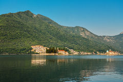 St.George Island. In Montenegro and Our Lady of the Rock Island and Church in Perast on shore of Boka Kotor bay Royalty Free Stock Photo