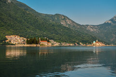 St.George Island in Montenegro. And Our Lady of the Rock Island and Church in Perast on shore of Boka Kotor bay Stock Images