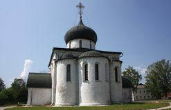 St. George Kathedraal (1234). Rusland, Vladimir-gebied, yuriev-Polsky. Stock Afbeelding