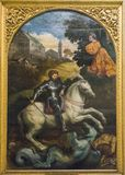 St. George Killing the Dragon. Original painting `St. George Killing the Dragon` Paris Bordon, 1525. oil on panel. nphoto taken on 15.06.2017, Pinacoteca Stock Photo