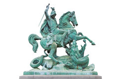 St. George kills the Dragon. St. George killing the Dragon, bronze statue made by Austrian sculptor Anton Fernkorn in 1853. It's standing next to the Croatian Stock Photo