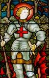 St George målat glassfönster Arkivbild