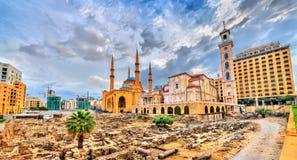St George Maronite Cathedral, Mohammad Al-Amin Mosque ed il giardino di perdono a Beirut, Libano fotografia stock