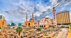 St. George Maronite Cathedral, the Mohammad Al-Amin Mosque and the Garden of Forgiveness in Beirut, Lebanon. St. George Maronite Cathedral, the Mohammad Al-Amin stock photography