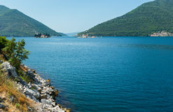 Two islets off the coast of Perast in Bay of Kotor, Montenegro Royalty Free Stock Photography