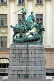 St George och draken skulpterar i gammal stad av Stockholm Royaltyfri Fotografi