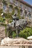St George och drakestatyn i Zagreb Arkivbilder