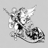 St George på hästrygg Arkivfoton