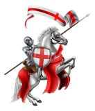 Saint George Medieval Knight on Horse. St George patron Saint of England in medieval knight armour mounted on his horse stock illustration