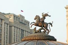 St. george-patroon van Moskou, de bouw van de Douma van de Staat Stock Fotografie