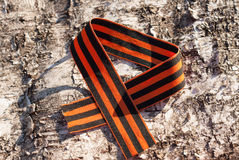 St. George ribbon on the background of birch bark Stock Image