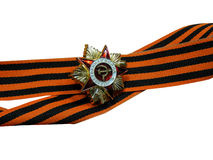 St. George ribbon with a medal on a white background Royalty Free Stock Images