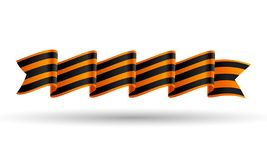 St. George ribbon on white. May 9, February 23. St. George ribbon on white background. May 9, February 23, Victory day. Black and orange striped bow. JPG include stock illustration