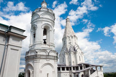 St. George's bell tower and  Church of the Ascension in , Moscow. St. George's bell tower and the Church of the Ascension in Kolomenskoye, Moscow. landmark Stock Photos