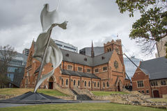 St. George`s Cathedral and Ascalon Sculpture in Perth Royalty Free Stock Images