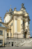 St. George's Cathedral in Lviv. Facade of the cathedral of St. George in Lviv Stock Images
