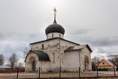 St. George`s Cathedral in Yuryev-Polsky, 13th century, the Golden ring of Russia. Golden Ring of Russia. In the territory of Archangel Michael monastery in royalty free stock photo