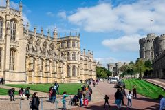 St George`s Chapel, Lower Ward and Round Tower in Windsor Castle Royalty Free Stock Photo