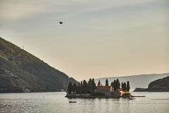 St. George`s Church. Island in the Bay of Kotor. Montenegro. Sunset. St. George`s Island. stock image