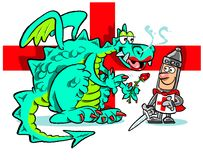 St. George's Day cartoon. St. George's Day UK holiday illustrated with knight and dragon in cartoon caricature Stock Photos