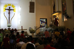 St. George`s Day celebrations in Rio de Janeiro. Rio de Janeiro, Brazil, April 23, 2017: Thousands of devotees take part in the celebrations at the Church of St Royalty Free Stock Images