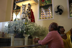 St. George`s Day celebrations in Rio de Janeiro. Rio de Janeiro, Brazil, April 23, 2017: Thousands of devotees take part in the celebrations at the Church of St Royalty Free Stock Photo