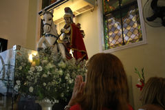 St. George`s Day celebrations in Rio de Janeiro. Rio de Janeiro, Brazil, April 23, 2017: Thousands of devotees take part in the celebrations at the Church of St Stock Images