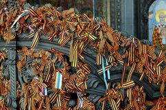 St. George's ribbons on the gates of the Cathedral. Stock Photo