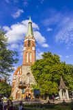 St.George`s Roman Catholic Church in Sopot, Poland. SOPOT, POLAND - JULY 31, 2015: St.George`s Roman Catholic Church in Sopot. Built in 1901 in Neo Gothic style Stock Photo