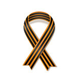 St George striped black and orange ribbon isolated on white. Vector symbol of Victory day Royalty Free Stock Photo