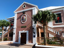 St. George Town Hall. Historic town hall, St. George Bermuda, all decked out for Christmas royalty free stock photography