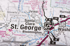 St George, Utá no mapa Foto de Stock Royalty Free