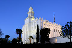 St George Utah LDS Mormon Temple in Early Morning Stock Photo